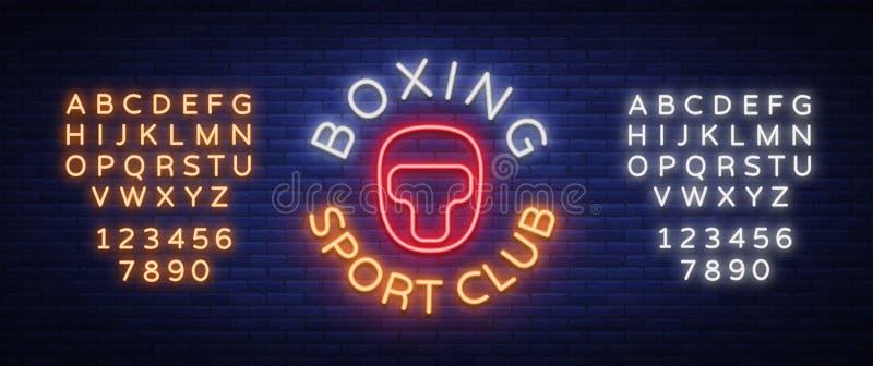 Style au néon de connexion de logo de club de sports de boxe, illustration de vecteur Emblème, un symbole pour une installation d illustration libre de droits