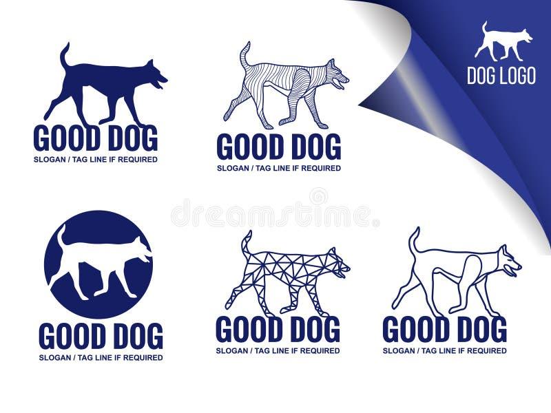 Style bleu d'éléments de conception de vecteur de logo de chien illustration libre de droits