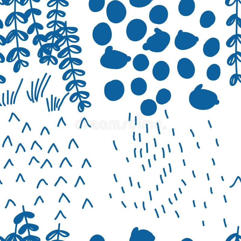 Style bleu japonais dessinant le modèle sans couture quatre-saisons abstrait illustration stock