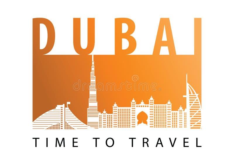 Style célèbre de silhouette de point de repère de Dubaï, couleur de ton de désert, conception de couleur de drapeau illustration de vecteur
