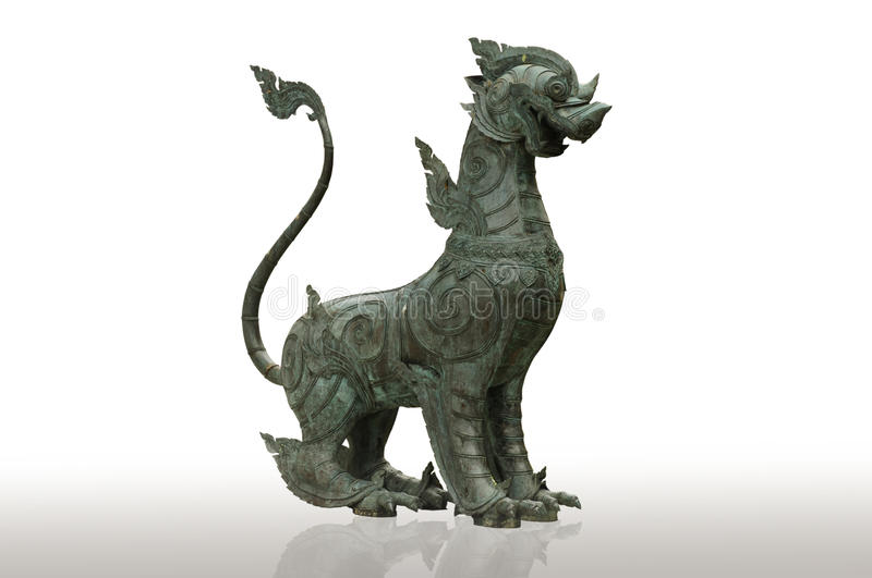 Style chinois de lion (Qilin Kylin ou Kirin) sur le dos de blanc image libre de droits