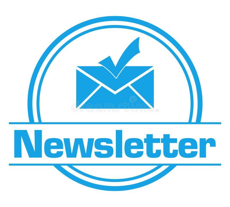 Style circulaire bleu d'insigne de bulletin d'information illustration de vecteur