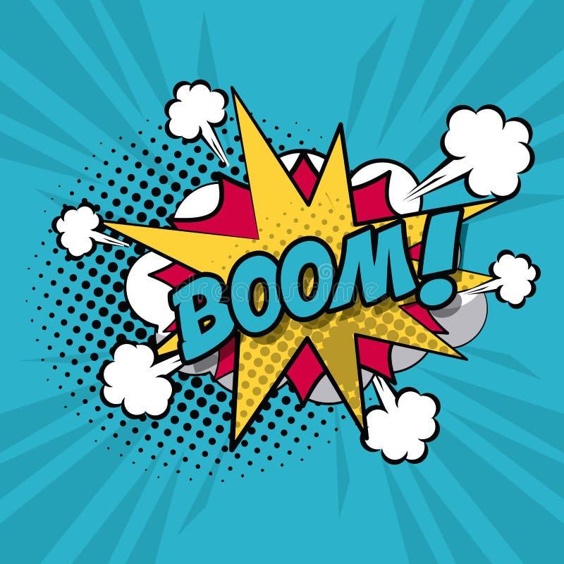 Style coloré d'art de bruit de fond de légende explosive de nuage pour le dialogue avec le texte de boom illustration stock