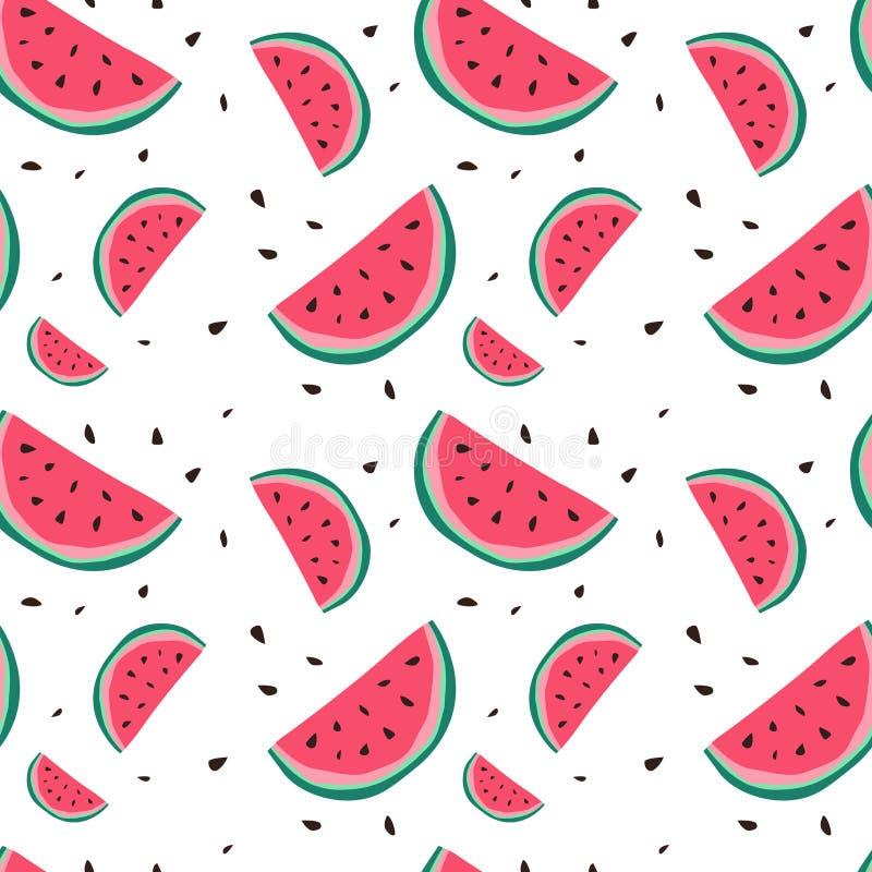 Style coloré de fond d'ornement d'été de modèle sans couture de pastèque illustration libre de droits