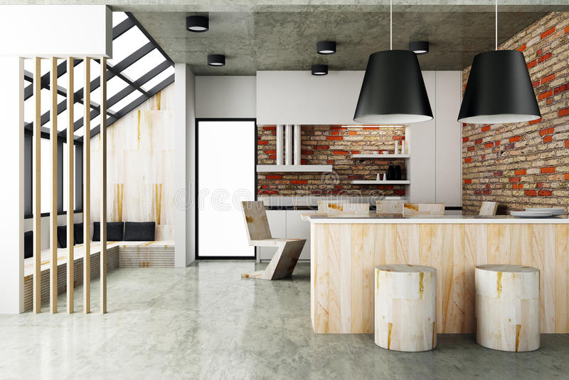 Style contemporain d'intérieur de salle à manger illustration stock
