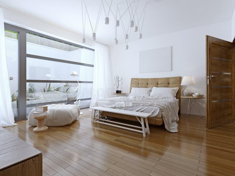 Style contemporain lumineux de chambre à coucher photographie stock