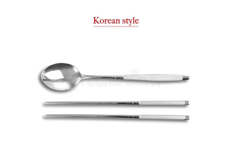Style coréen, cuillère et baguettes image stock