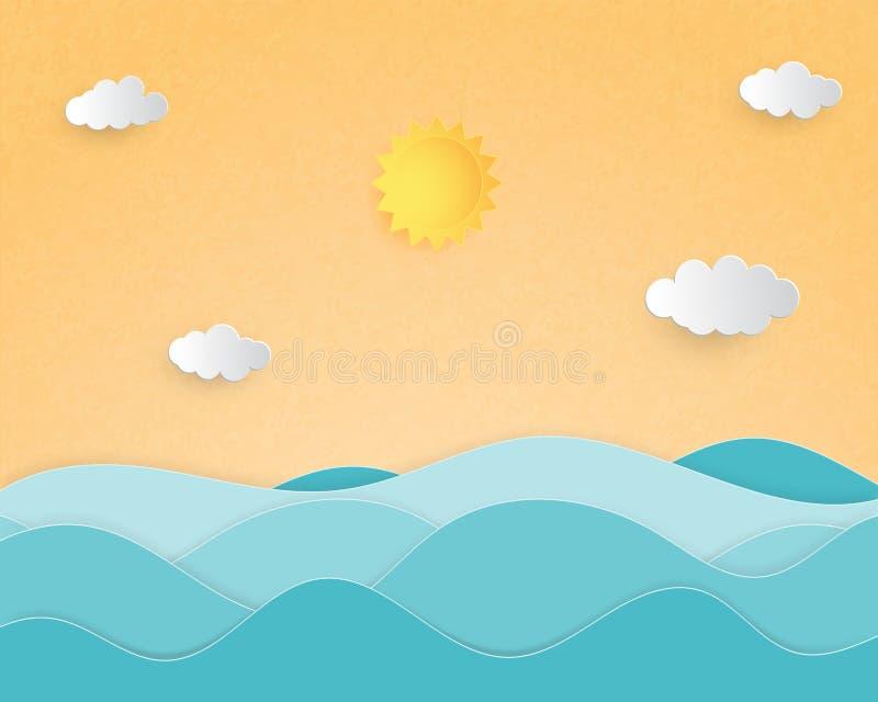 Style créatif de coupe de document de concept de fond d'été d'illustration avec le paysage de la vague de mer illustration de vecteur