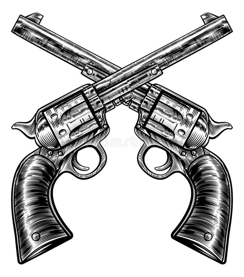 Style croisé de gravure sur bois en vintage de revolvers d'arme à feu de pistolet illustration libre de droits