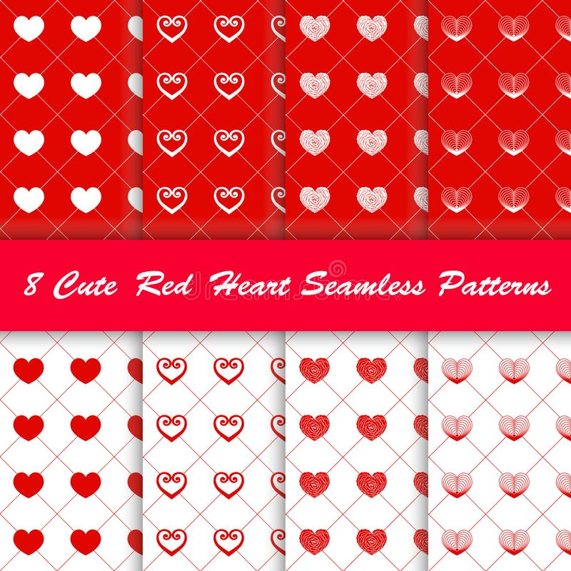 8 Style cute red heart in white and red background seamless pattern. vector illustration