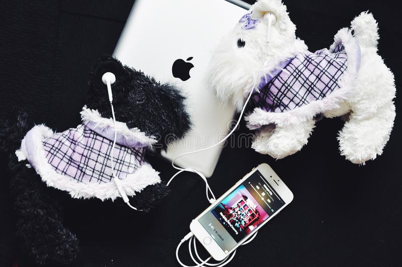 Style d'écouteurs d'iPhone d'Apple photo stock