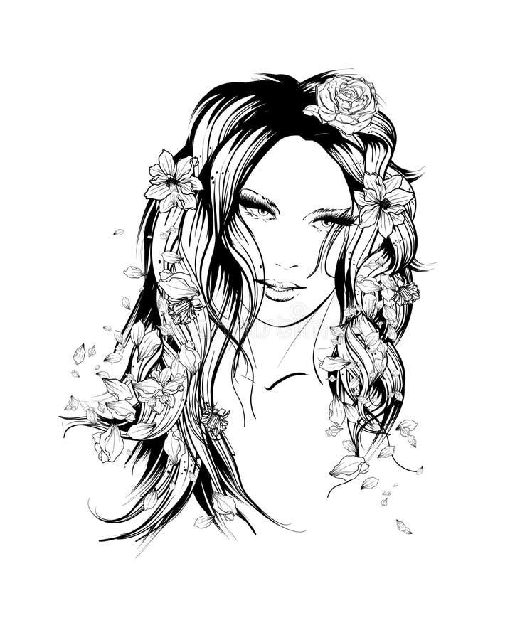 Style d'été Fille avec des fleurs dans son cheveu illustration libre de droits