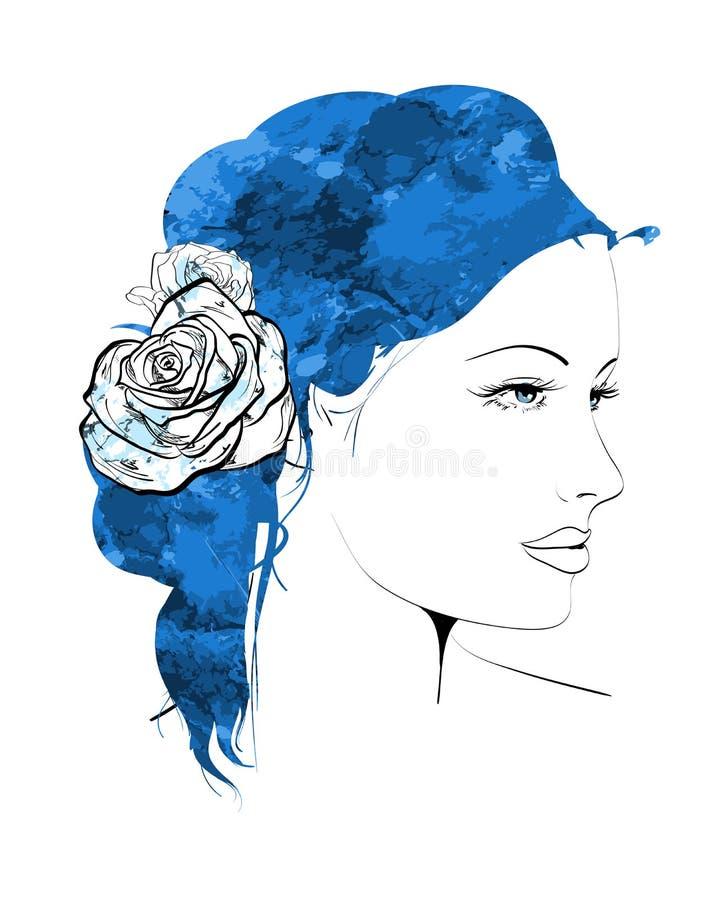 Style d'été Fille avec des fleurs dans son cheveu illustration stock
