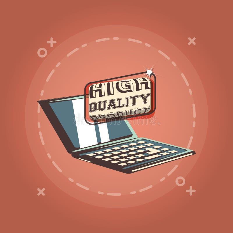 Style d'achats de produit de haute qualité d'ordinateur portable rétro illustration de vecteur