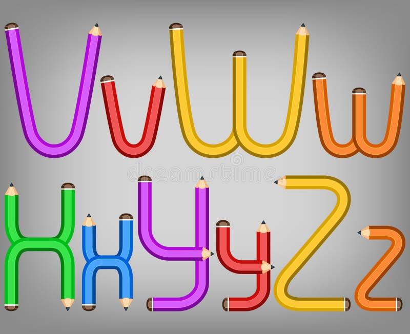 style d 39 alphabet de crayon de couleur illustration de vecteur illustration du orange anglais. Black Bedroom Furniture Sets. Home Design Ideas