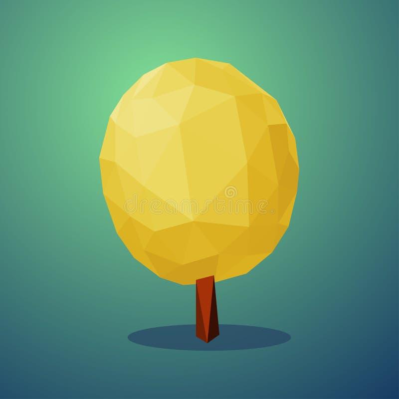 Style d'arbre d'automne bas poly Élément de conception de vecteur illustration stock