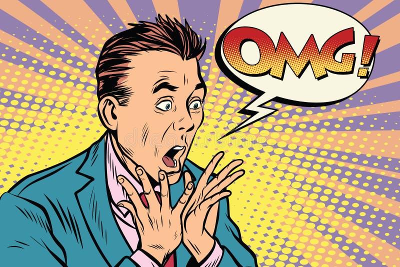 Style d'art de bruit d'homme d'affaires d'OMG rétro illustration de vecteur