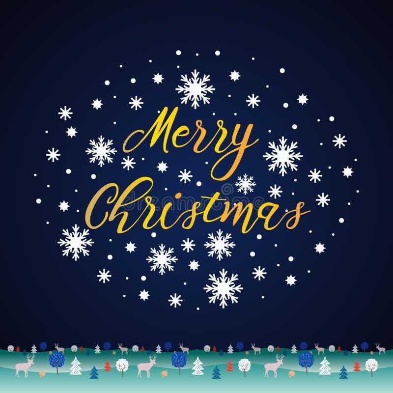 Style d'art de coupe de papier de Noël de vecteur avec des cerfs communs et le paysage d'hiver Typographie tirée par la main pour illustration stock