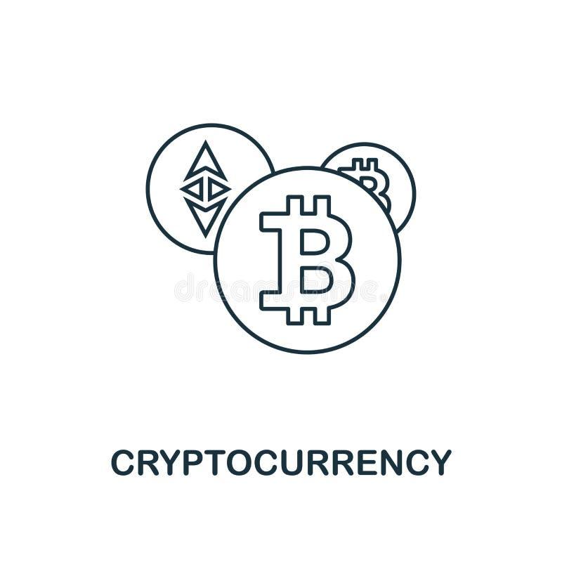 Style d'ensemble d'icône de Cryptocurrency Ligne mince conception de collection d'ic?nes de fintech Icône parfaite de cryptocurre illustration de vecteur