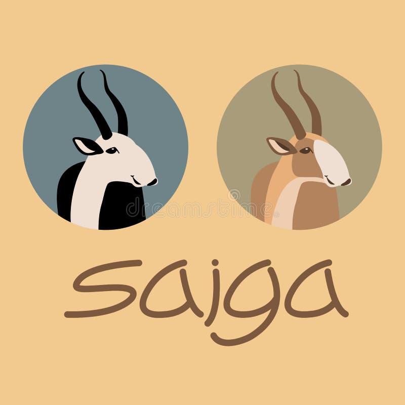 Style d'illustration de vecteur d'antilope de Saiga plat illustration stock