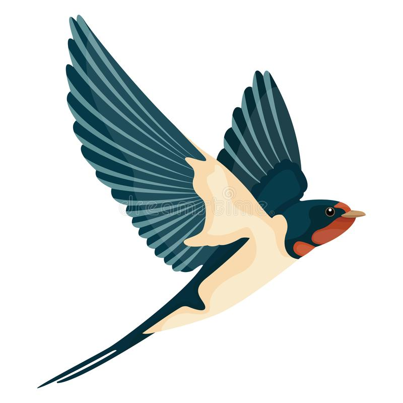 Style d'illustration de vecteur d'hirondelle en vol plat illustration libre de droits
