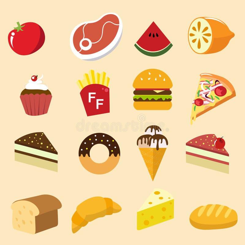 Style d'illustration d'icône d'ensemble de nourriture illustration libre de droits
