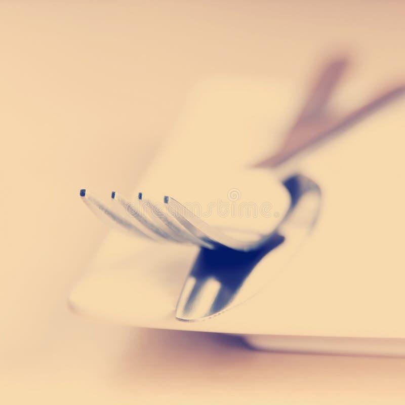 Style d'Instagram de couteau et de fourchette photographie stock