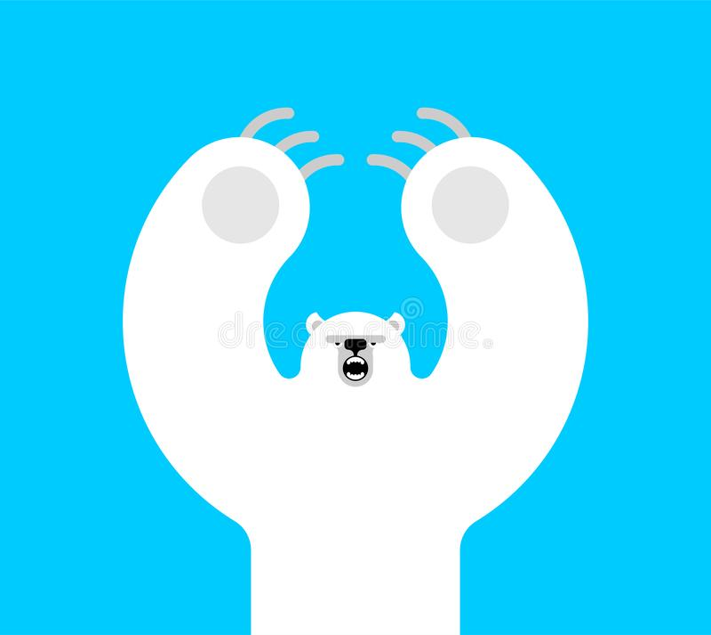 Style d'isolement mauvais de bande dessinée d'ours blanc Prédateur sauvage grandes attaques d'ours blanc illustration de vecteur