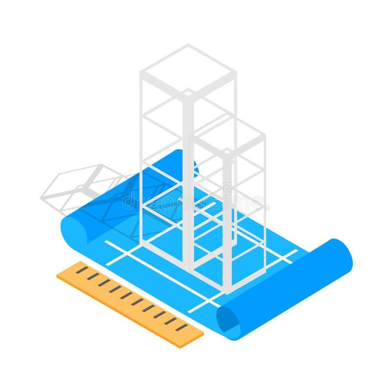 Style 3d isométrique d'icône de plan de construction de bâtiments illustration libre de droits