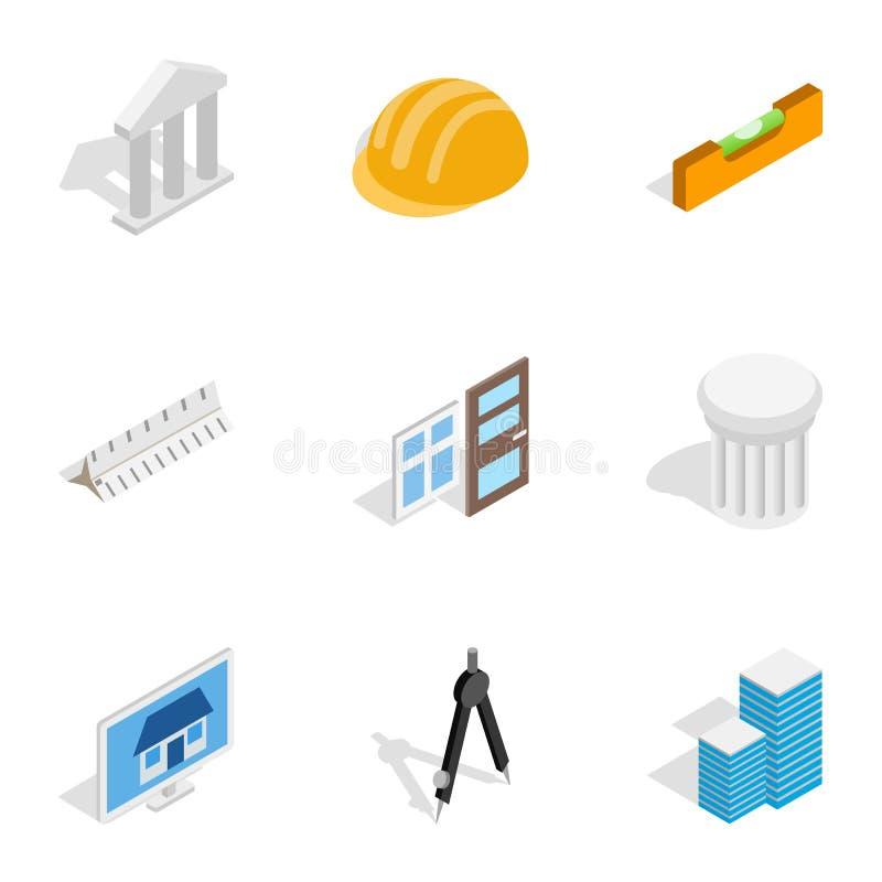 Style 3d isométrique d'icônes de construction et d'ingénieur illustration de vecteur