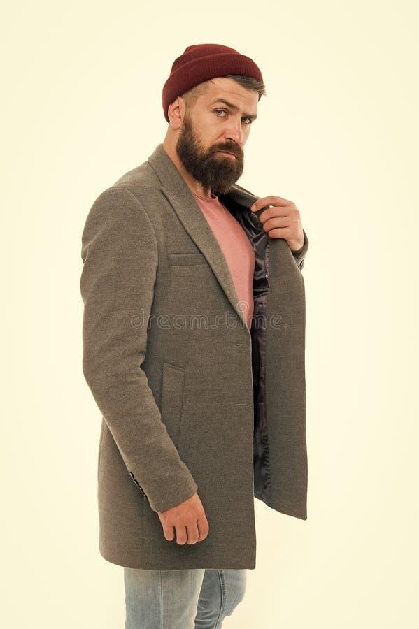 Style d'?quipement de d?couverte que vous vous sentez confortable Manteau ? la mode ?l?gant et chapeau de hippie barbu d'homme Ch images stock