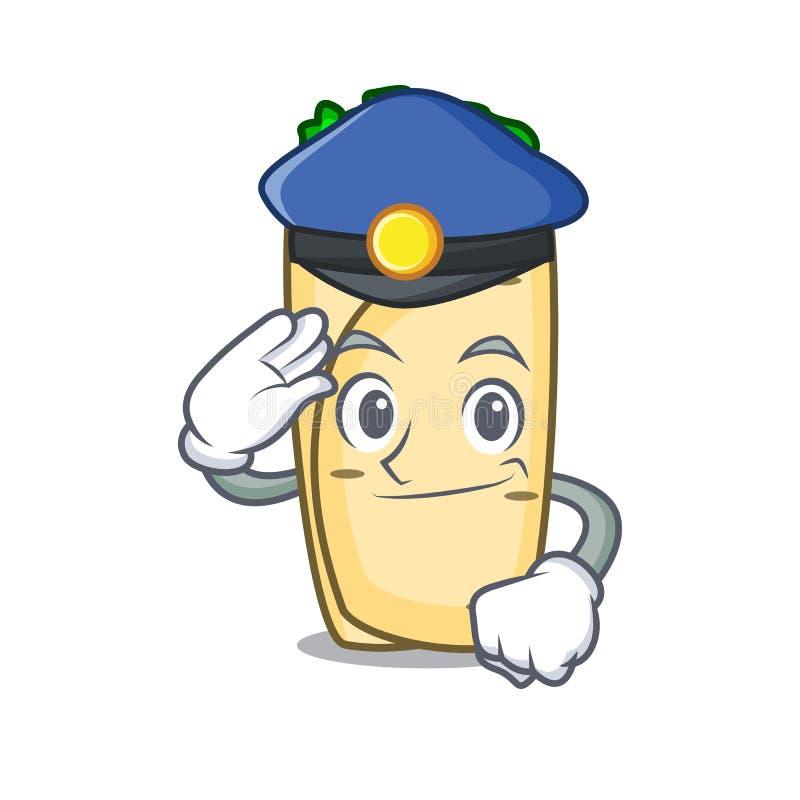 Style de bande dessinée de caractère de burrito de police illustration de vecteur