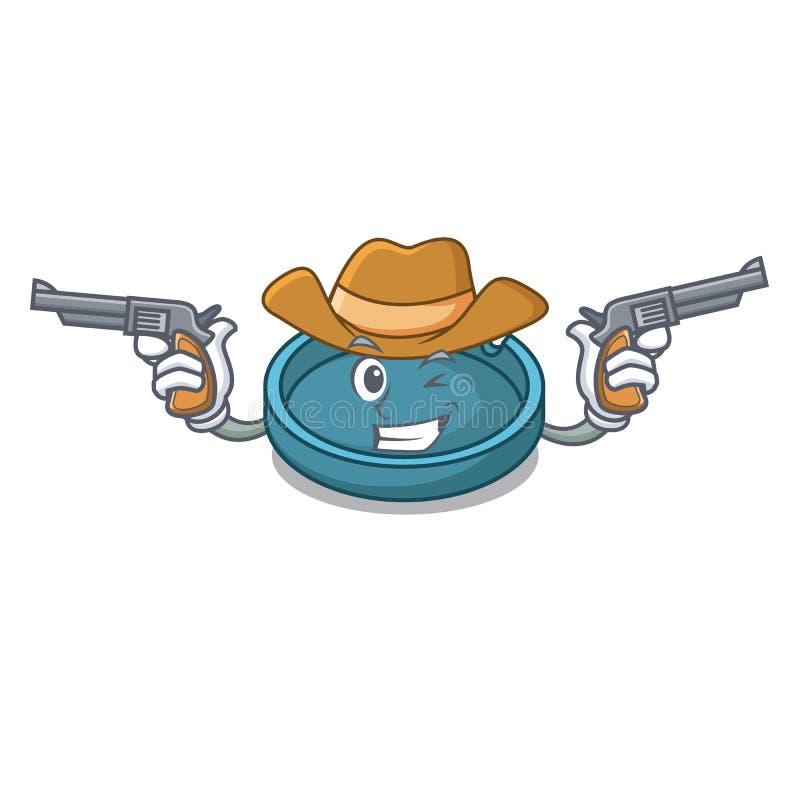 Style de bande dessinée de caractère de cendrier de cowboy illustration stock