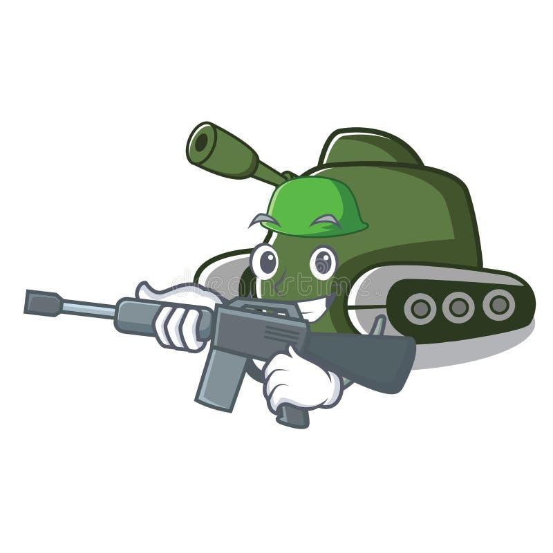 Style de bande dessinée de caractère de réservoir d'armée illustration de vecteur