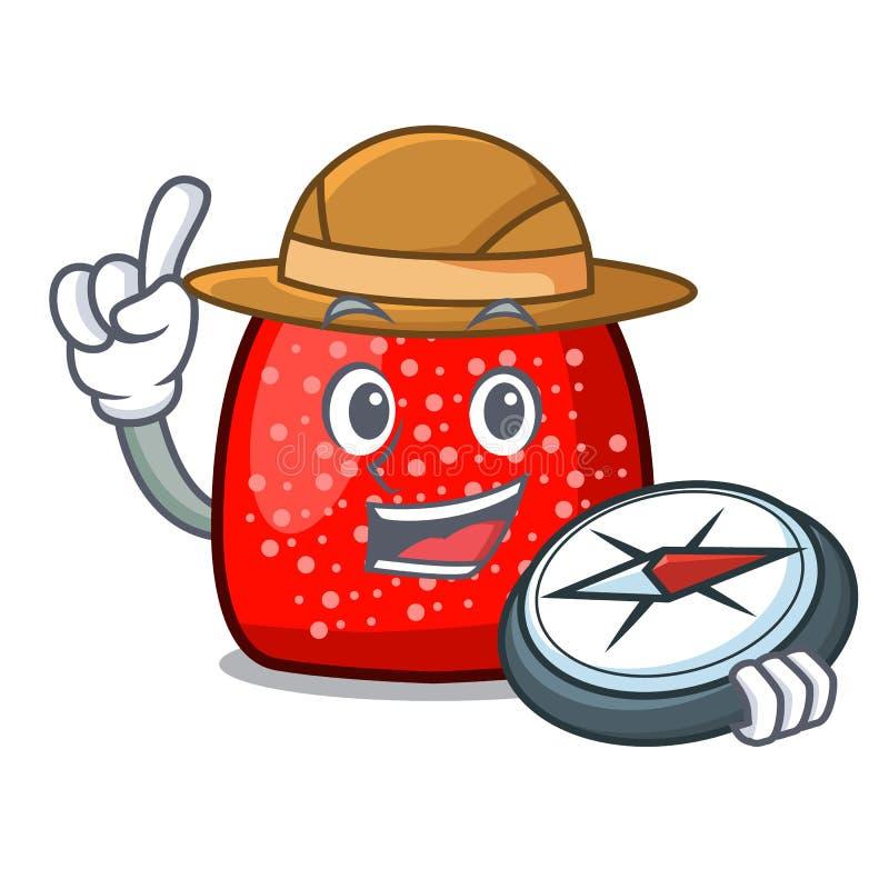 Style de bande dessinée de mascotte de boule de gomme d'explorateur illustration libre de droits