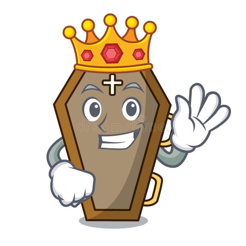 Style de bande dessinée de mascotte de cercueil de roi illustration stock