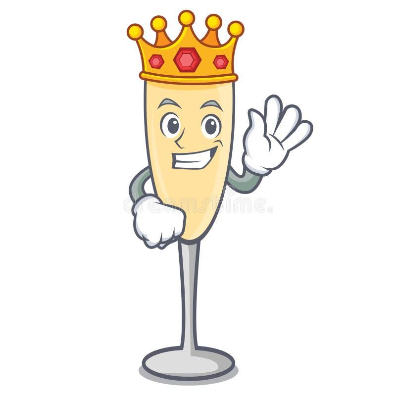 Style de bande dessinée de mascotte de champagne de roi illustration libre de droits