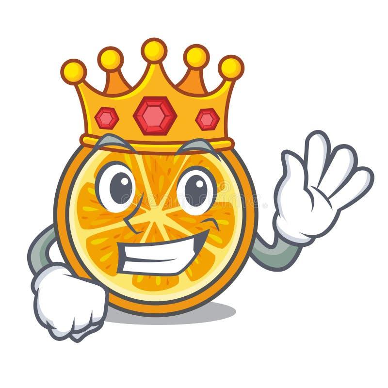 Style de bande dessinée de mascotte d'orange de roi illustration de vecteur