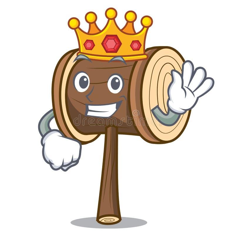 Style de bande dessinée de mascotte de maillet de roi illustration de vecteur
