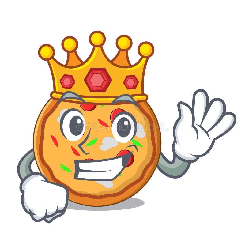 Style de bande dessinée de mascotte de pizza de roi illustration de vecteur