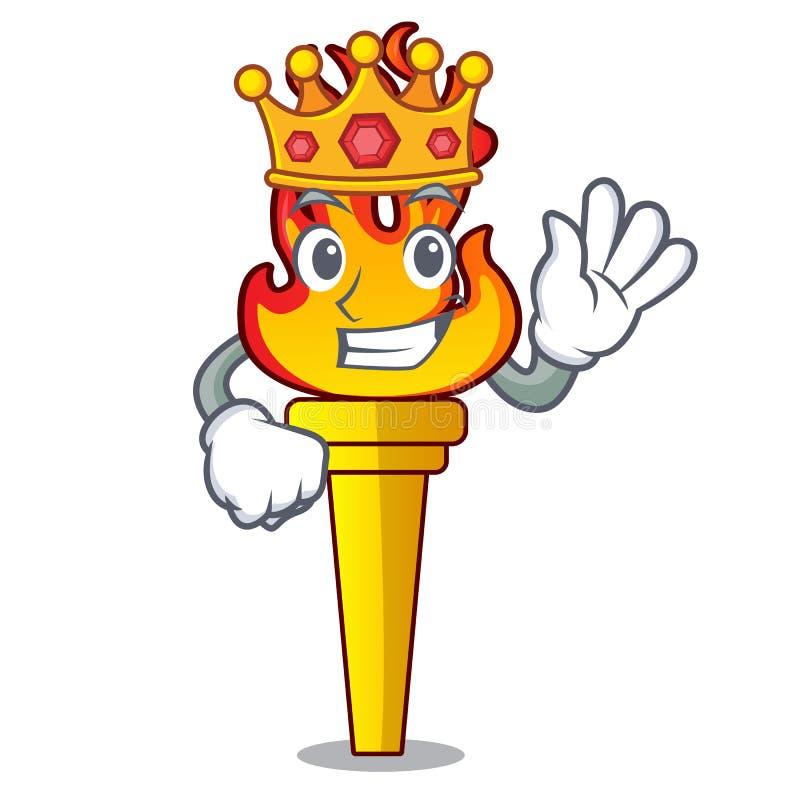 Style de bande dessinée de mascotte de torche de roi illustration de vecteur