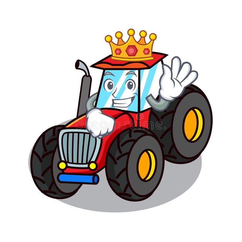 Style de bande dessinée de mascotte de tracteur de roi illustration libre de droits