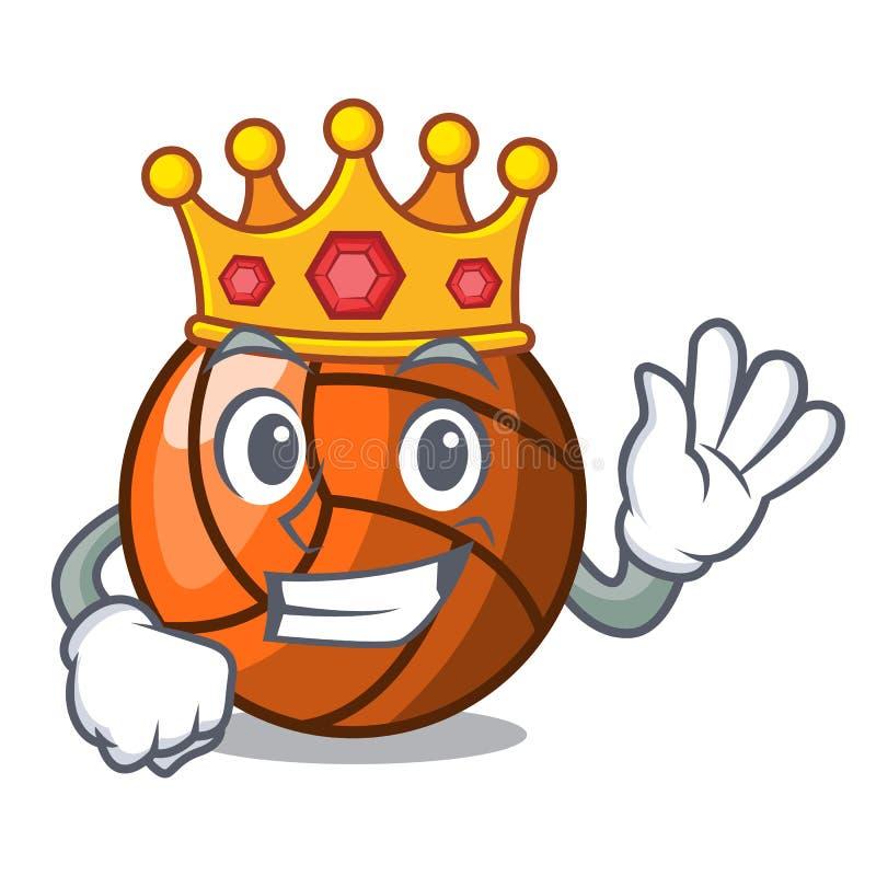 Style de bande dessinée de mascotte de volleyball de roi illustration libre de droits