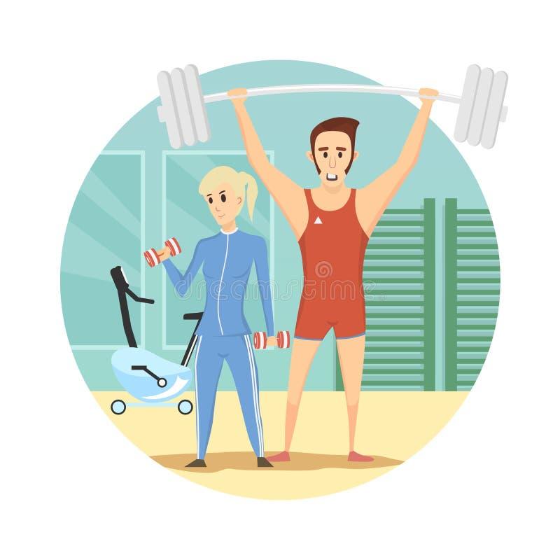 Style de bande dessinée de sport d'icône de centre de fitness - dirigez l'illustration illustration de vecteur