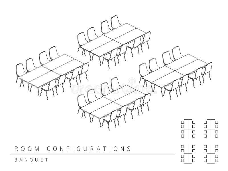 Style de banquet de configuration de disposition d'installation de lieu de réunion illustration libre de droits