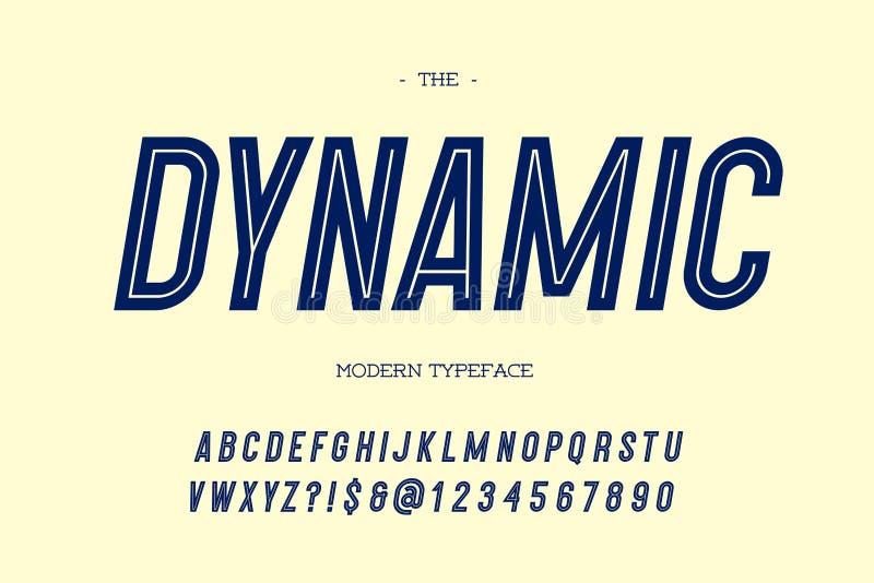 Style de caractère sans obit et sans empattement incliné par oeil d'un caractère moderne dynamique de vecteur illustration stock
