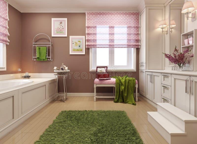 Style de classique de la salle de bains des enfants photographie stock