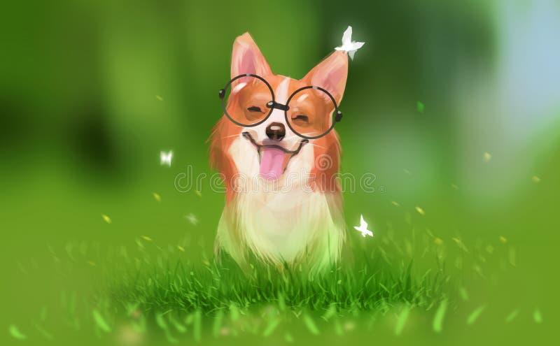 Style de conception de peinture d'art d'illustration de Digital un sourire de chien de corgi illustration de vecteur