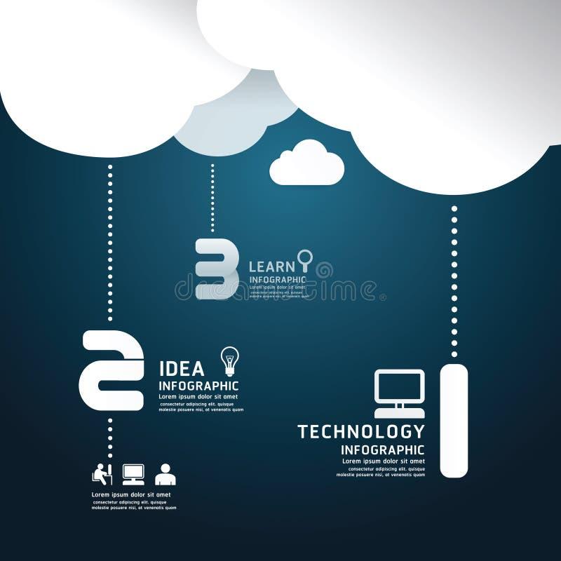 Style de coupe de papier de nuage de technologie d'Infographic. illustration de vecteur