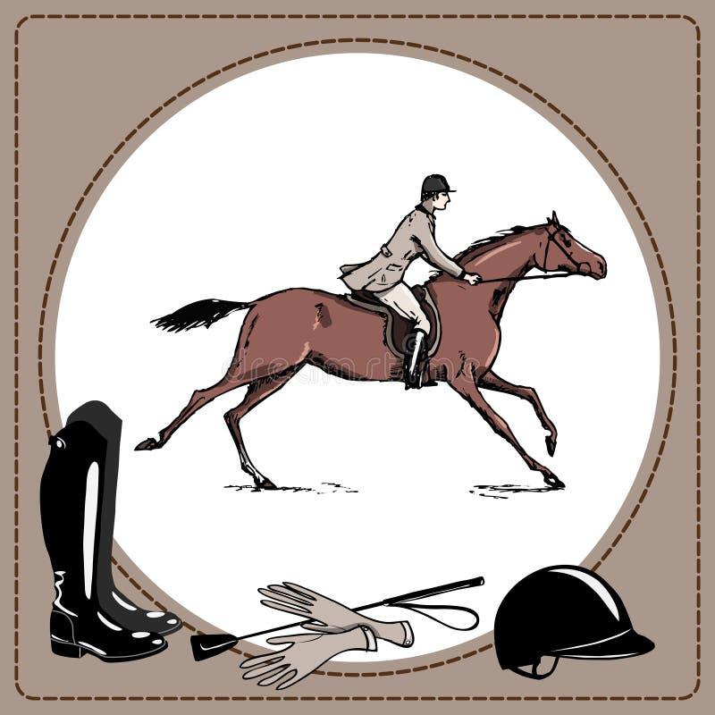 Style de course d'obstacles de l'Angleterre de cavalier de cheval de sport équestre Derby dans le cadre en cuir et équitation clo illustration libre de droits
